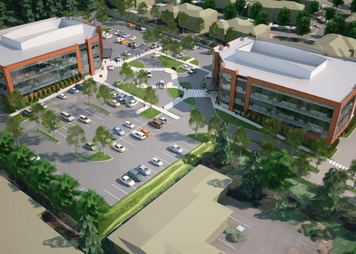Office park model and artistic render