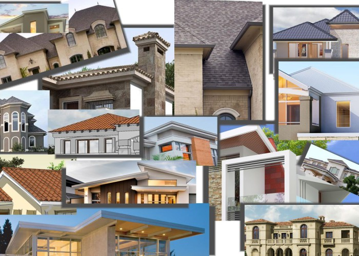 A montage of house plan roof options to choose from