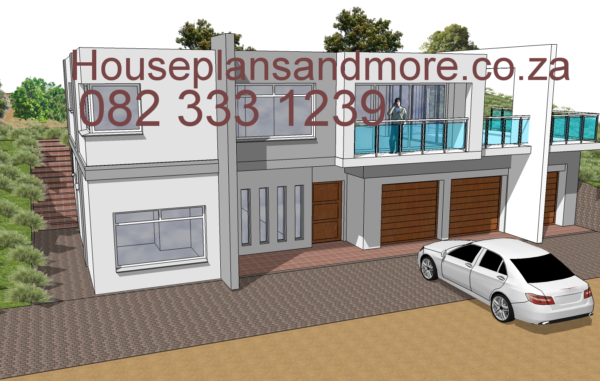 A very modern double storey painted house