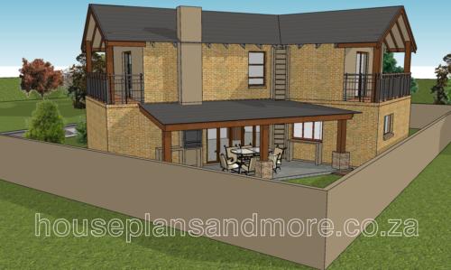 Double storey gable house plan design for developer