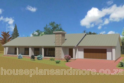 single storey gable with metal roof house plan design for client