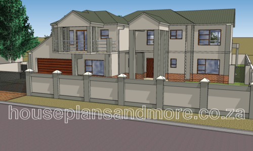 Double storey metal roof gable house plan design for client
