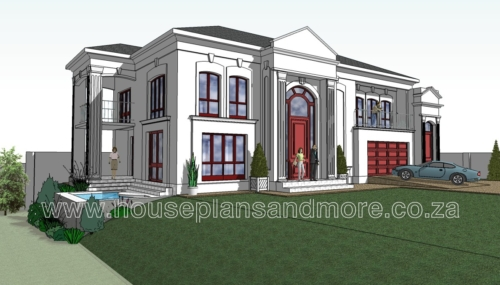 Double storey classic house plan design for client