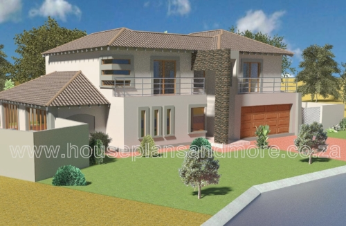 Double storey house plan design with tile roof
