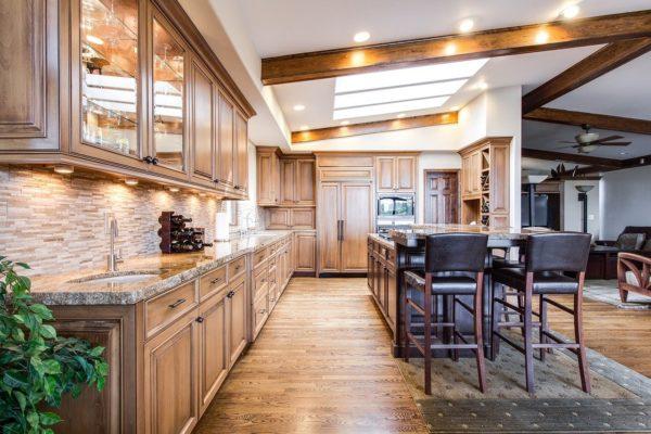A long wood kitchen